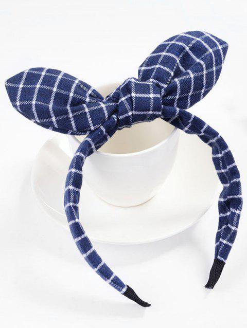 Checked Pattern Bowknot Hair Hoop - LAPIS BLUE