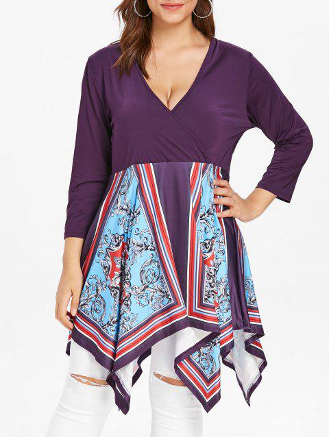 Plus Size Handkerchief Tunic Top with Sleeves - multicolor L