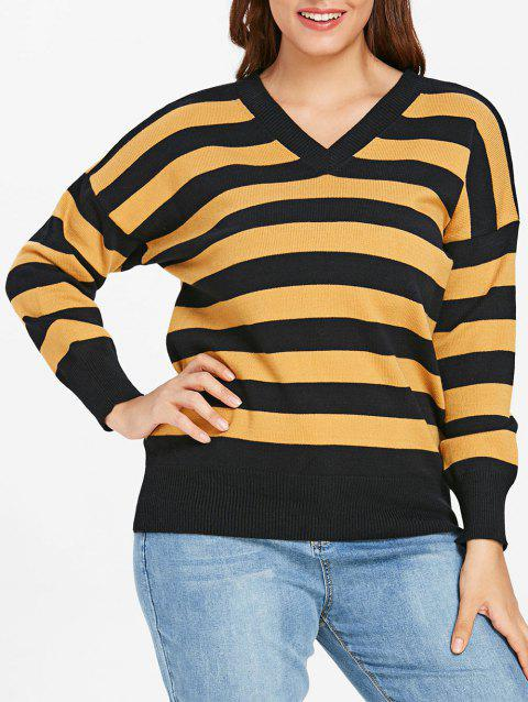 Plus Size Two Tone V Neck Striped Sweater - YELLOW 2X