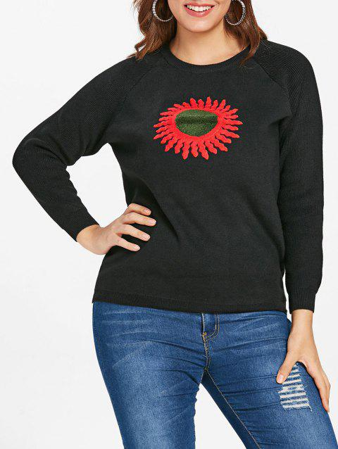 Plus Size Graphic Embroidered Sweatshirt - BLACK L