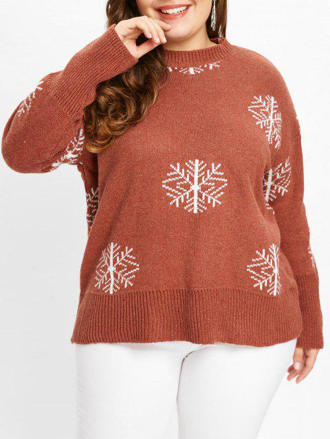 Round Neck Plus Size Snowflake Print Sweater - CHESTNUT RED ONE SIZE