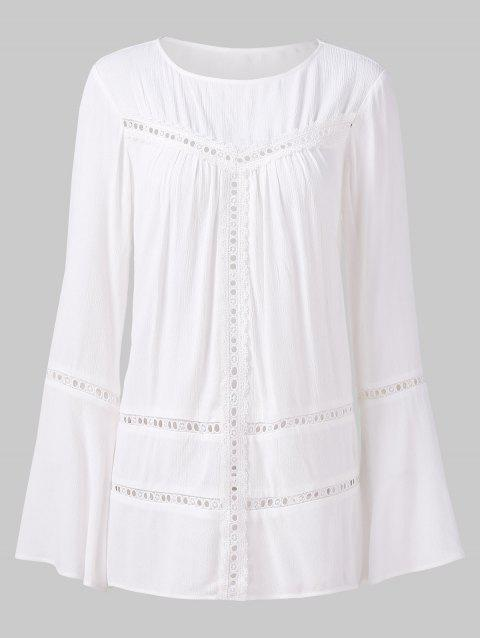 Hollow Out Lace Panel Flare Sleeve Blouse - WHITE XL