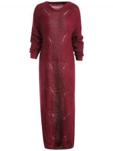 Ripped Long Sweater Dress - RED WINE M