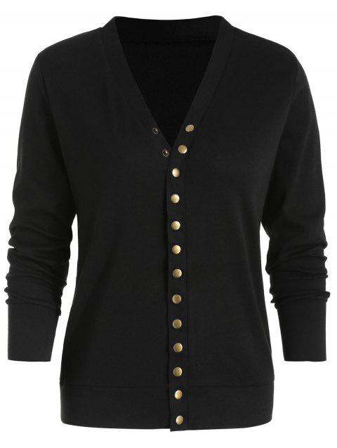 Press Stud Light Cardigan - BLACK L