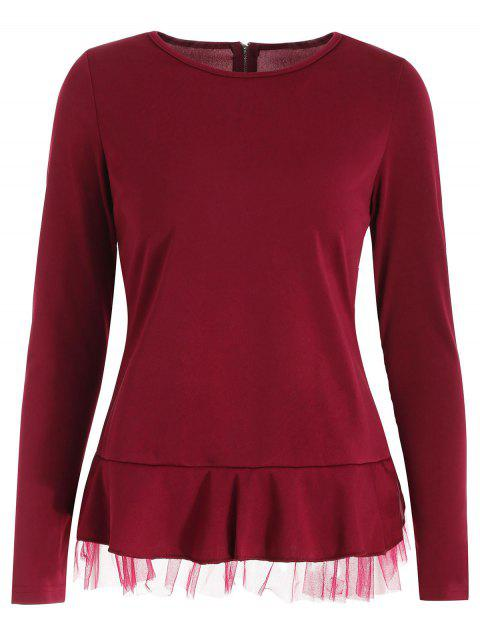 Zipped Long Sleeve Ruffle Hem Top - RED WINE L