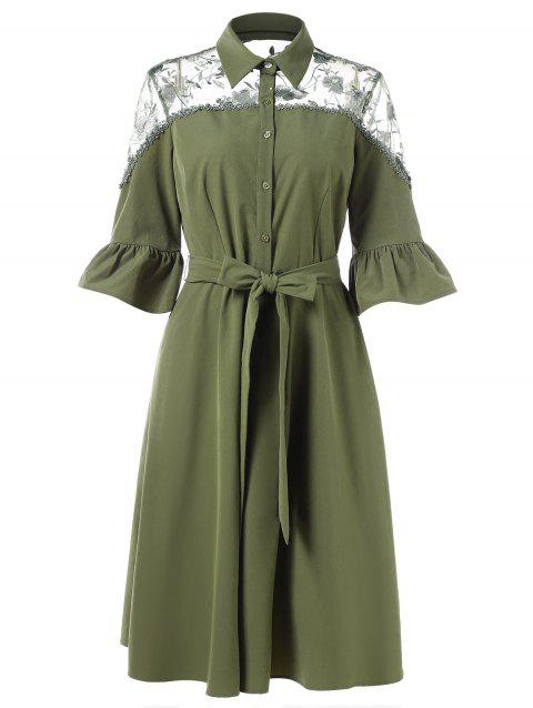 Half Button Lace Panel Shirt Dress - FERN GREEN L