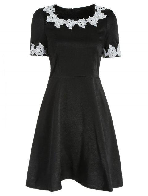 Crochet Flower Applique Skater Dress - BLACK XL