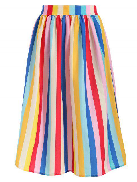 Colorful Striped Midi Umbrellla Skirt - multicolor XL