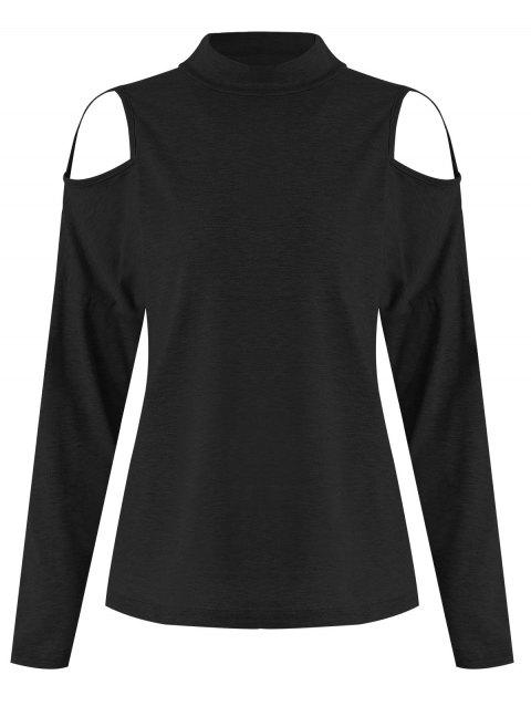 Cut Out Front Long Sleeve Tee - BLACK L