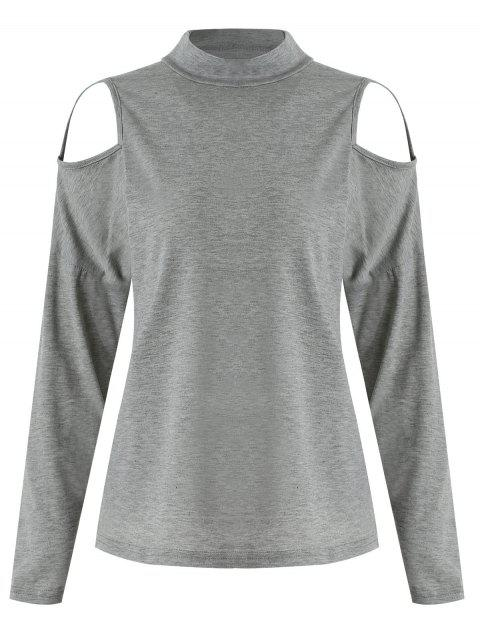 Cut Out Front Long Sleeve Tee - GRAY CLOUD M