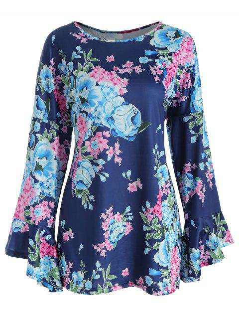 Bell Cuff Floral Tunic Top - BLUEBERRY BLUE XL