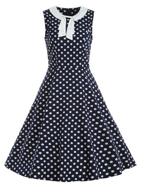 Polka Dot Bow Vintage Dress - DEEP BLUE L
