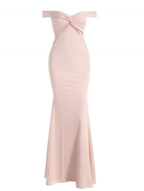 Off The Shoulder Maxi Mermaid Gown Dress - PIG PINK M