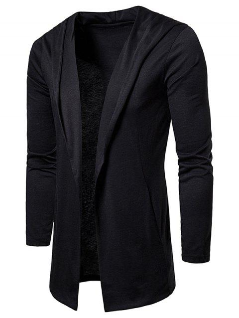Solid Color Casual Hooded Cardigan - BLACK L