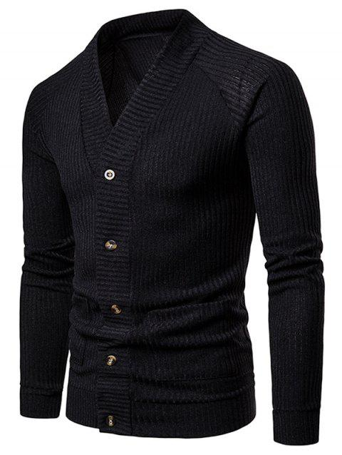 V Neck Casual Rib Cardigan - BLACK XL