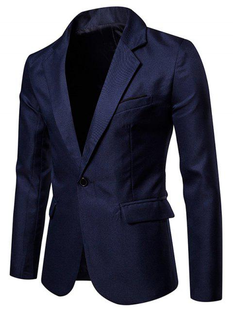 Faux Chest Pocket Casual Blazer - MIDNIGHT BLUE XL