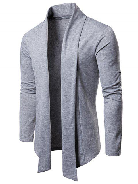 Whole Colored Open Front Cardigan - LIGHT GRAY L
