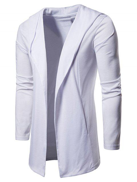 Solid Color Casual Hooded Cardigan - WHITE M