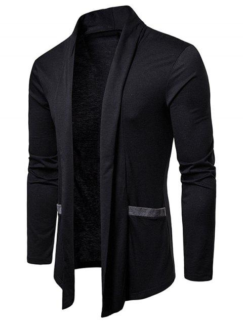 Color Block Pocket Open Front Cardigan - BLACK M