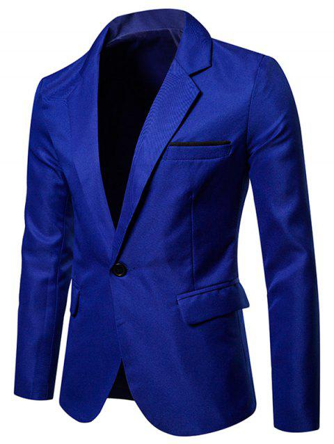 Faux Chest Pocket Casual Blazer - BLUE XL