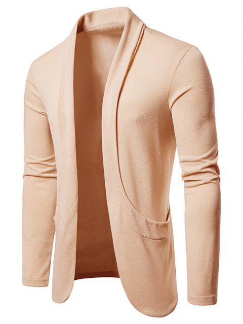 Creative Pocket Casual Open Front Cardigan - APRICOT M