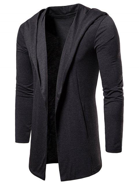 Solid Color Casual Hooded Cardigan - CARBON GRAY M