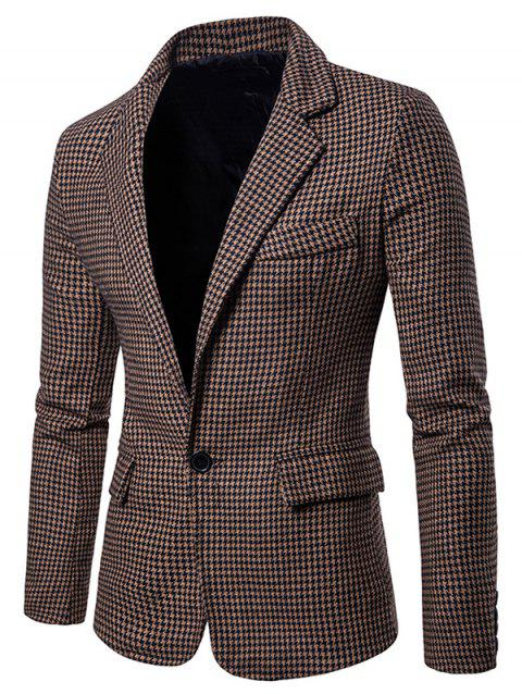 Houndstooth Casual Two Pockets Blazer - DEEP BROWN M