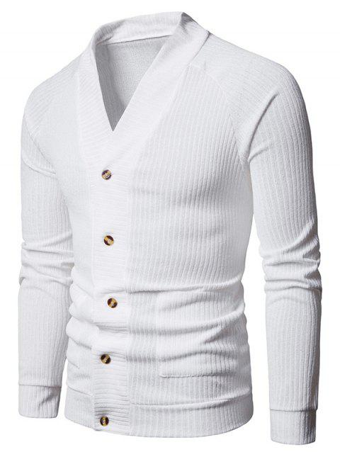 V Neck Casual Rib Cardigan - WHITE L