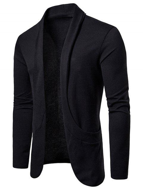 Creative Pocket Casual Open Front Cardigan - BLACK M