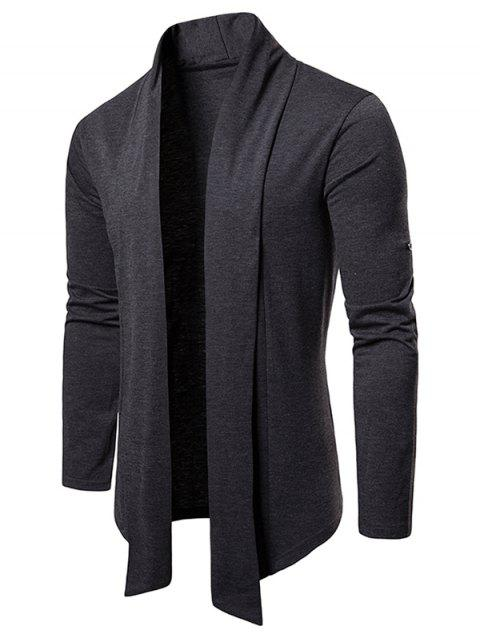 Whole Colored Open Front Cardigan - DARK GRAY M