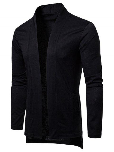 High Low Hem Open Front Cardigan - BLACK M