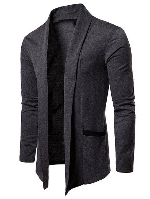 Color Block Pocket Open Front Cardigan - CARBON GRAY M