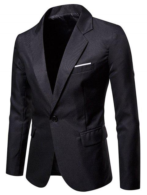 Faux Chest Pocket Casual Blazer - BLACK 2XL