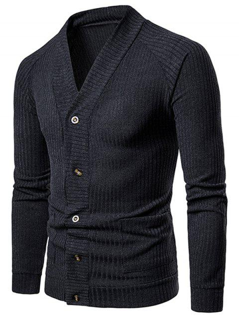 V Neck Casual Rib Cardigan - DARK SLATE GREY XL