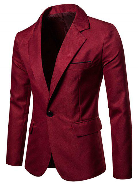 Faux Chest Pocket Casual Blazer - RED WINE L