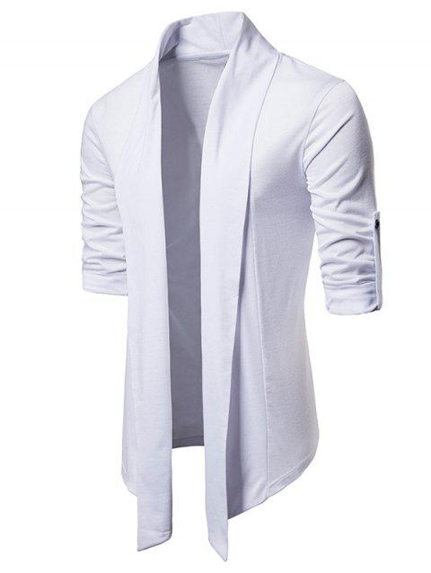 Whole Colored Open Front Cardigan - WHITE L