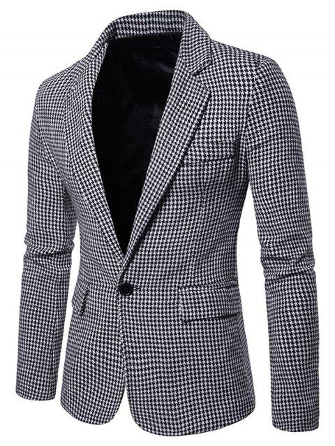 Houndstooth Casual Two Pockets Blazer - WHITE M
