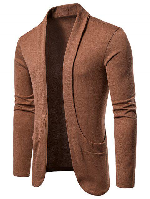 Creative Pocket Casual Open Front Cardigan - BROWN M