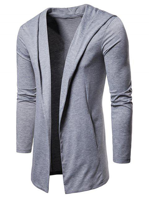 Solid Color Casual Hooded Cardigan - LIGHT GRAY 2XL