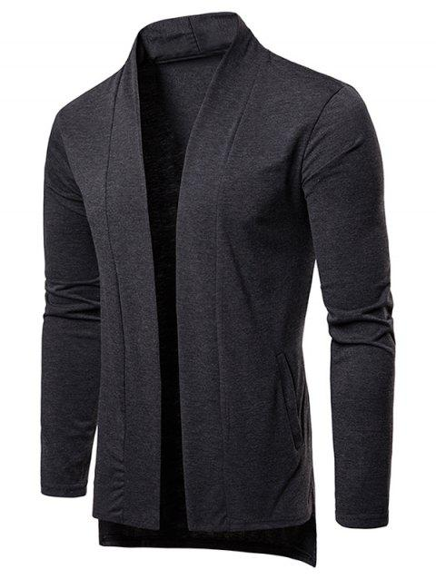 High Low Hem Open Front Cardigan - CARBON GRAY M
