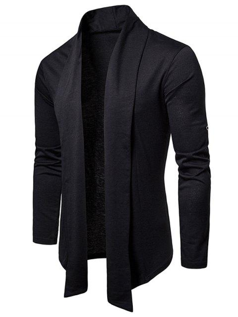 Whole Colored Open Front Cardigan - BLACK XL