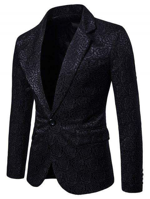 Rose Pattern Curve Split Hem Blazer - BLACK XL