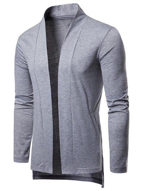 High Low Hem Open Front Cardigan - LIGHT GRAY M