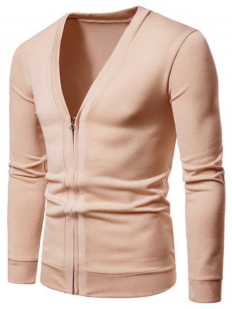 V Neck Casual Zipper Jacket - DEEP PEACH L