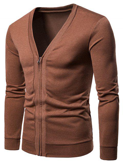 V Neck Casual Zipper Jacket - BROWN 2XL