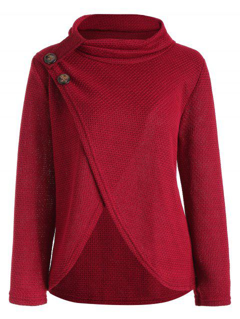 Crossover Hem Buttoned Turtleneck Sweater - RED WINE XL