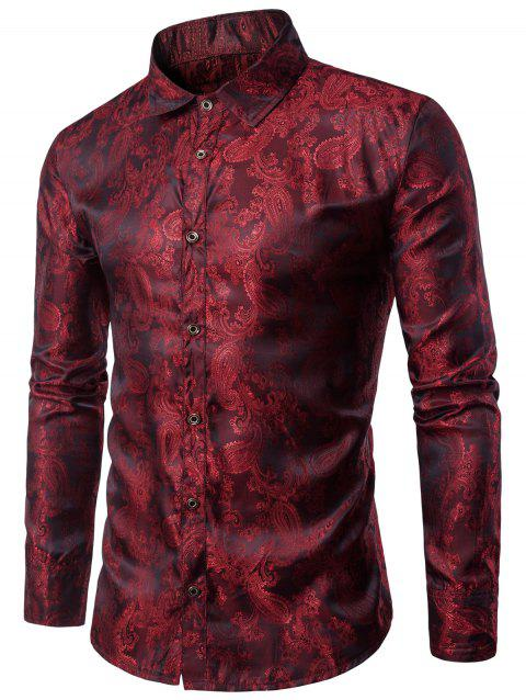 Casual Long Sleeve Paisley Vintage Shirt - RED WINE L