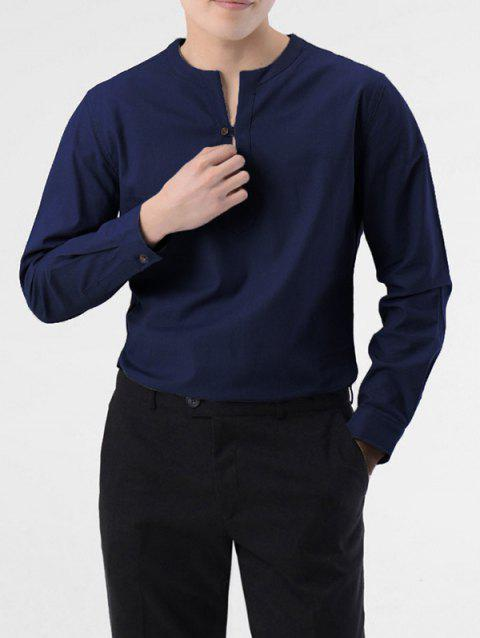 Casual Long Sleeve Solid Shirt - CADETBLUE M