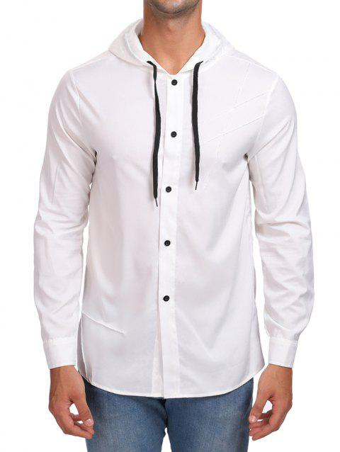 Solid Button Up Hooded Shirt - WHITE L