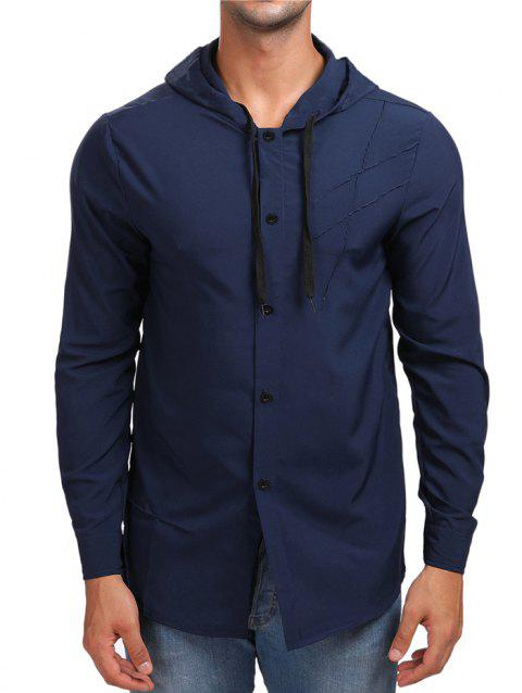 Solid Button Up Hooded Shirt - CADETBLUE XL